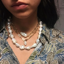 Dvacaman Simulated Pearl Statement Necklace Women Double Lay