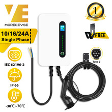 Single Phase EV Charger 10/16/24A Wallmount Electric Vehicle Charging Station Switchable Current EVSE Wallbox Type 2 Cable IEC