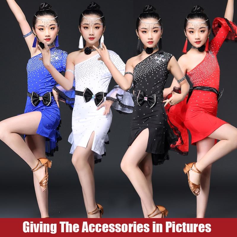 Girls Latin Dance Dress Elegant Dancing Dress White/Black/Red Color Performance Costume Competitive Girls Latin Dresses BL2771