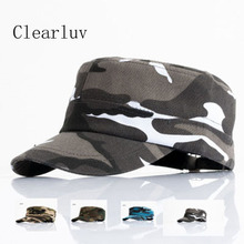 Army Camouflage Flat Cap Adjustable Spring Baseball Caps Men