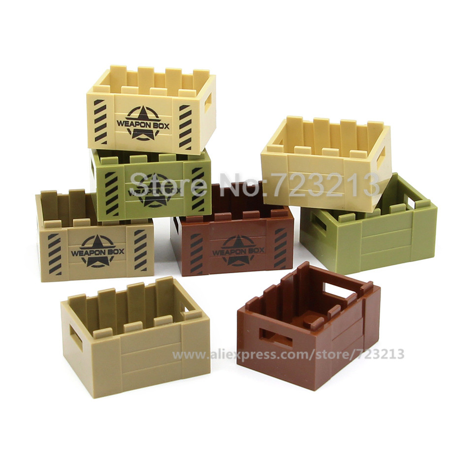 SWAT Weapon Box 3cm Storage Military Set MOC Accessories Parts Building Blocks Brick Kits Toys for Children Legoing