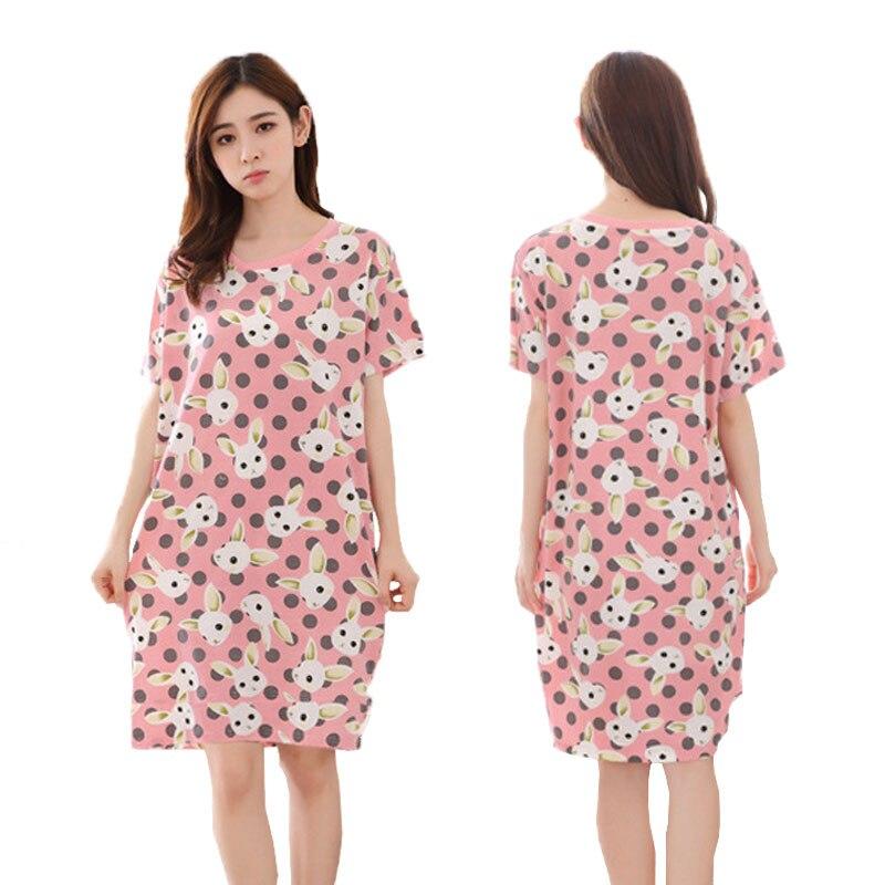 19 Styles Women Sleepwear Sleep Night Wear Girl Nightwear Round Neck Short Sleeve Casual Cartoon Long Nightgown Home Night Dress