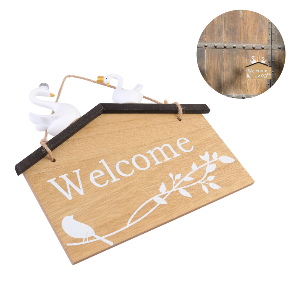 Details about  /Welcome Door Sign Wooden Home Decoration Sign with Pair of White Swans