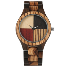 4 Splice Color Dial Full Wooden Watch Male Folding Clasp Quartz Wood