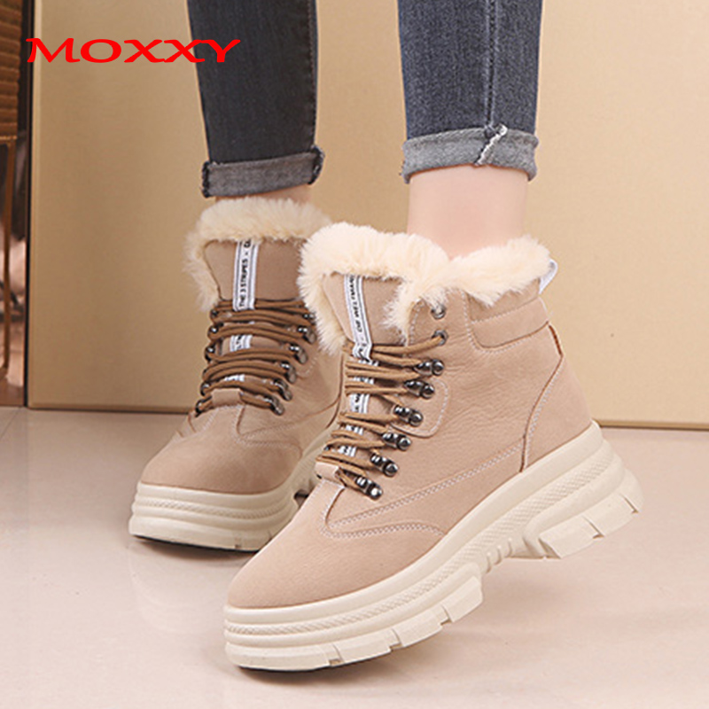 2019 New Women's Winter Sneakers Warm Fur Chunky Sneakers Platform Plush Casual Shoes Woman Ladies Heel High Top Sneakers Ladies