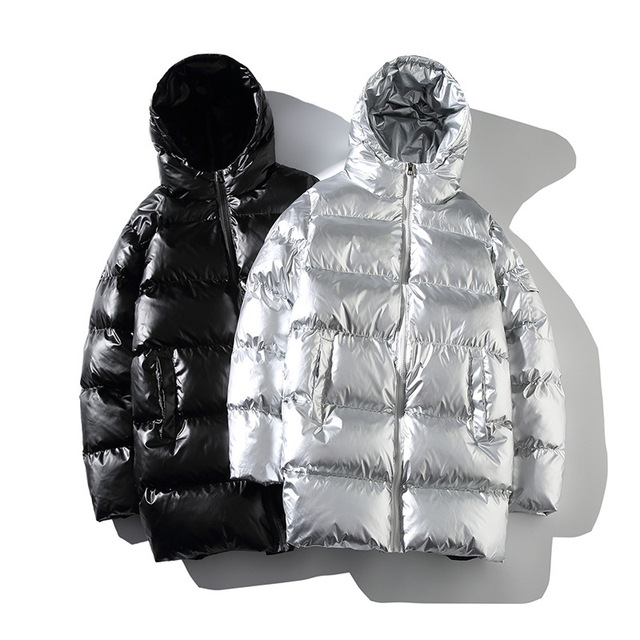 Winter Men Jacket Thick Warm Parka Jackets Silver Bright color long men's Hooded Cotton Jacket bigger size Casual Parkas coat