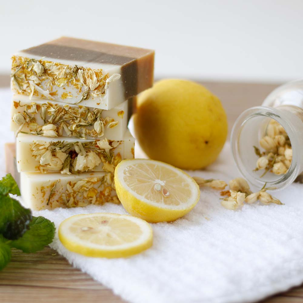 Lemon Mint Jasmine Handmade Whitening Soap Skin Deep Cleaning Brighten Moisturizing Soap Bath Shower Soap