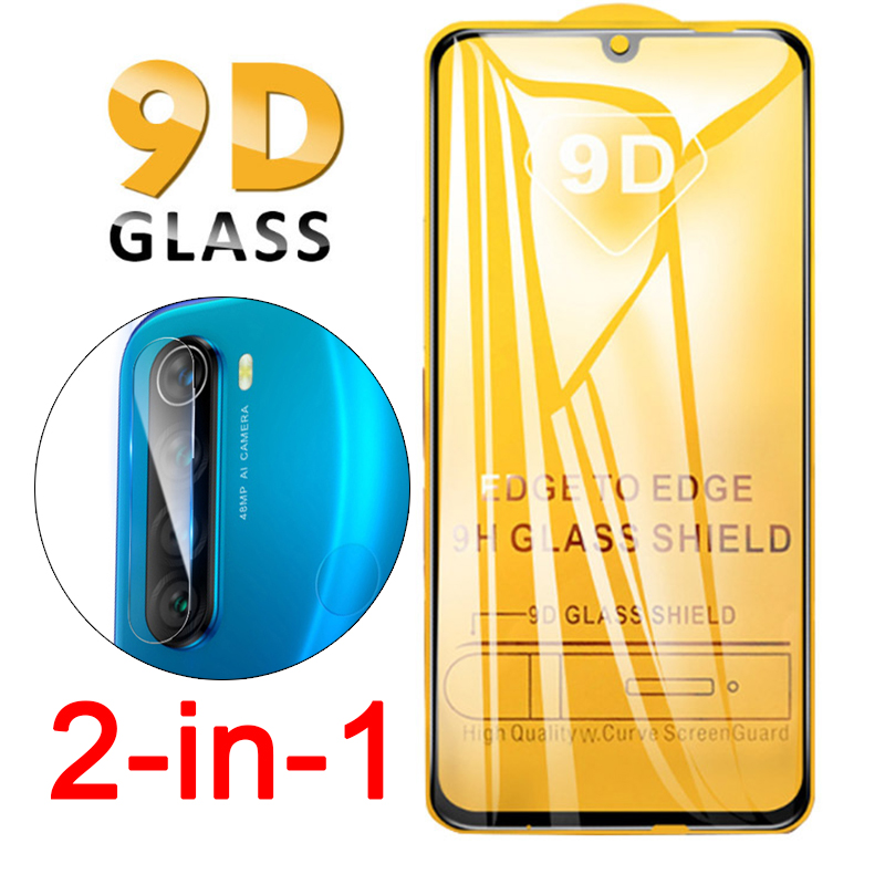 2 In 1 9D Full Glue Tempered Glass For Xiaomi Redmi Note 8 Pro Note8pro Screen Camera Lens Protector On Note8 8T Protective Film
