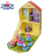 Genuine Peppa Pig Toy House George Peppa Family House With  Mam Dad  Children's Action Figure Birthday  Christmas Toys Gifts Hot