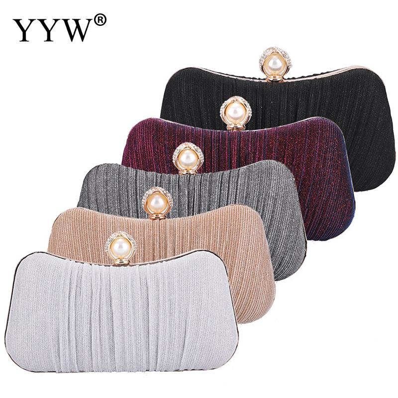 Stain Pleated Pearl Studded Wedding Evening Bridal Bridesmaid Clutch Purse Pillow Shape Pochette Femme Gold Women Evening Bag in Top Handle Bags from Luggage Bags