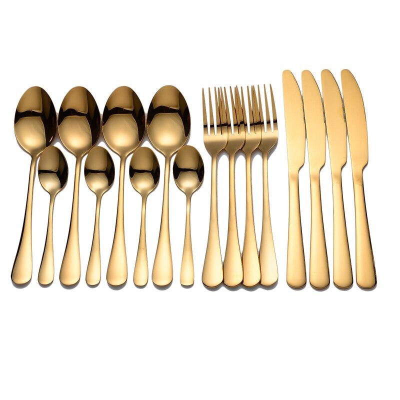 SPKLIFEY Золотая посуда столовые приборы из нержавеющей стали, вилки, ножи, ложки, золотой столовый набор для кухни, столовый набор, вилка, ложка, набор ножей Столовые сервизы      АлиЭкспресс