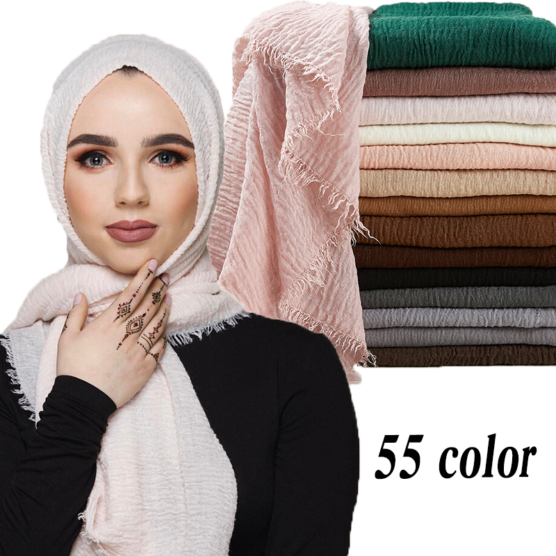 95*190cm Women Muslim Crinkle Hijab Scarf Femme Musulman Soft Cotton Headscarf Islamic Hijab Shawls And Wraps Wholesale Price