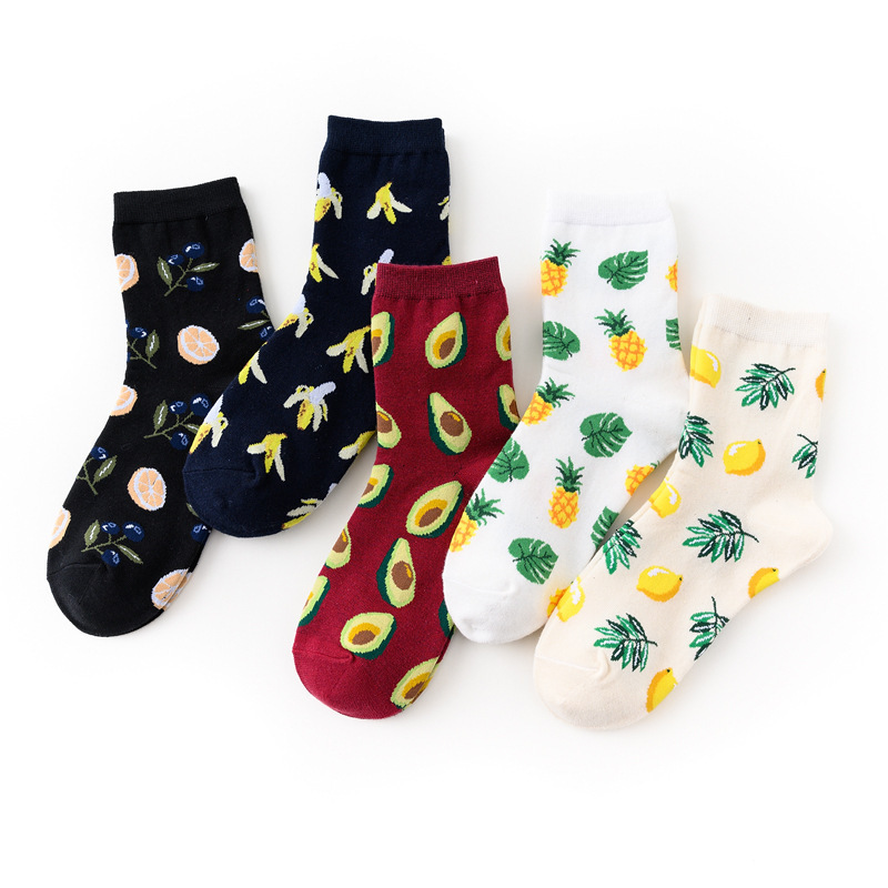 PEONFLY Harajuku Style Women's Socks Funny New 2019 Autumn Winter Casual Leaf Fruit Printed Cotton Socks Avocado Skarpetki