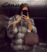 цена на Genuo New Faux Fur Factory Faux Fox Fur Coat Women Winter Stand Collar Artifical Fur Coats Overcoat Female Faux Fur Jacket