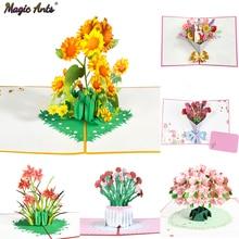 Открытка с цветами, 3D поздравительная открытка на день рождения матери, День отца, выпускной