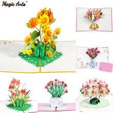 Tarjeta de felicitación 3D de flores Pop-Up, Flora para cumpleaños, Madre, Día del Padre, graduación, aniversario de boda, obtener una buena comprensión