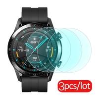 3 pçs vidro temperado para huawei relógio gt 2 46mm protetor de tela de vidro protetor para huawei gt2 banda acessórios smartwatch filme Acessórios inteligentes     -