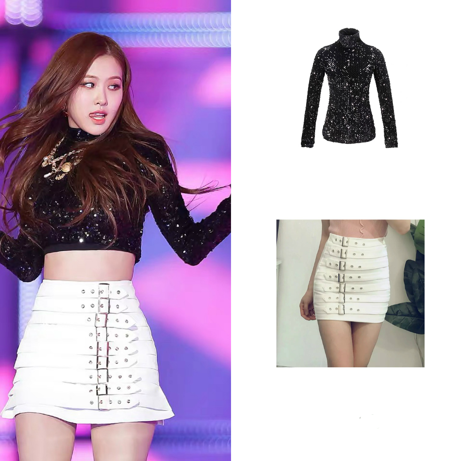 Kpop Blackpink ROSE Stage Show Same Sequins Long Sleeve Turtleneck Sweatshirts Tops + High Waist Sexy Skirts Women Two-piece Set