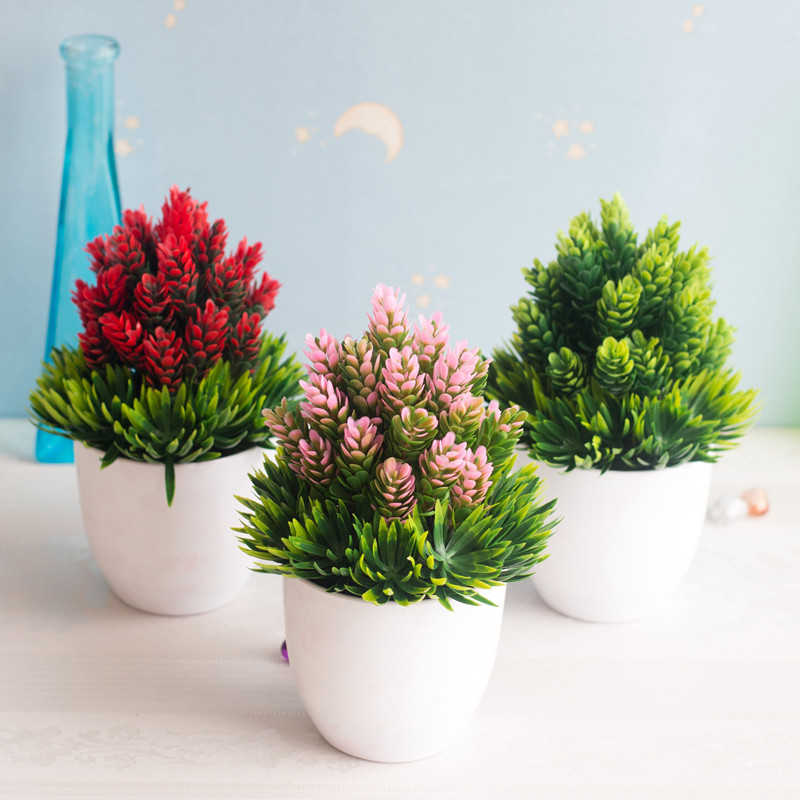 1PC Artificial Plants Bonsai Small Tree Pot Plants Fake Vase Flowers Potted Ornaments Wedding Party For Home Garden Decoration