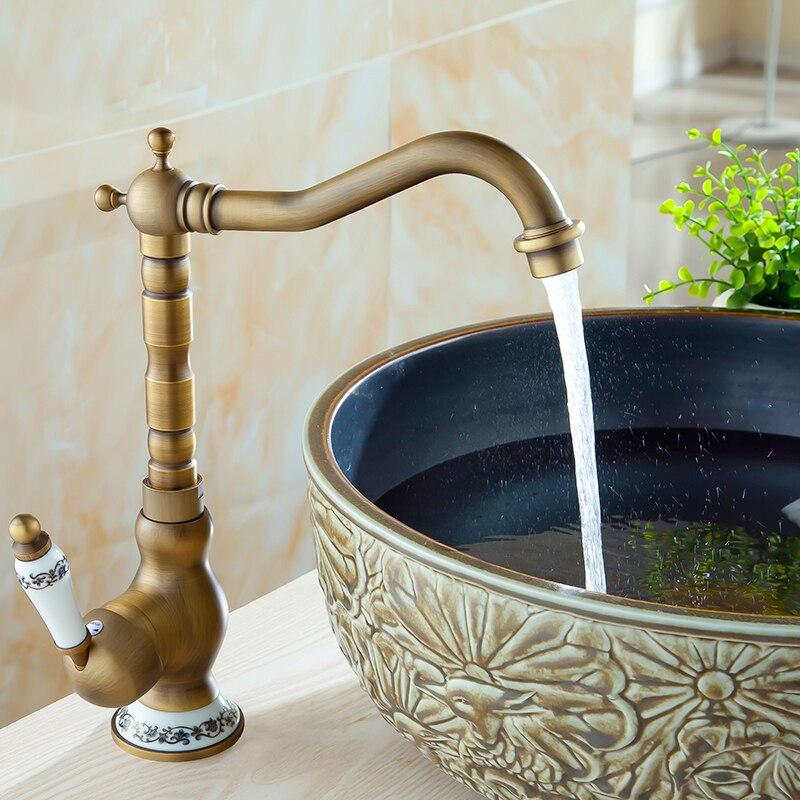 Robinets de salle de bains robinet en Bronze Antique pour mélangeur de cuisine avec grue en céramique mélangeurs d'eau froide et chaude - 3