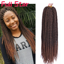"Full Star Senegalese Crochet Twist Braids Hair 14"" 18inch Brown Black Color Braid Hair Ombre Synthetic Senegal Braiding Hair"