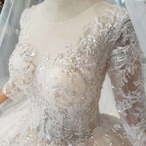 Image 5 - Bgw HT5627 Suknia Slubna 2020 Luxe Baljurk Trouwjurk Met Lange Mouwen Applicaties Corset Prinses Wedding Gown Met Trein