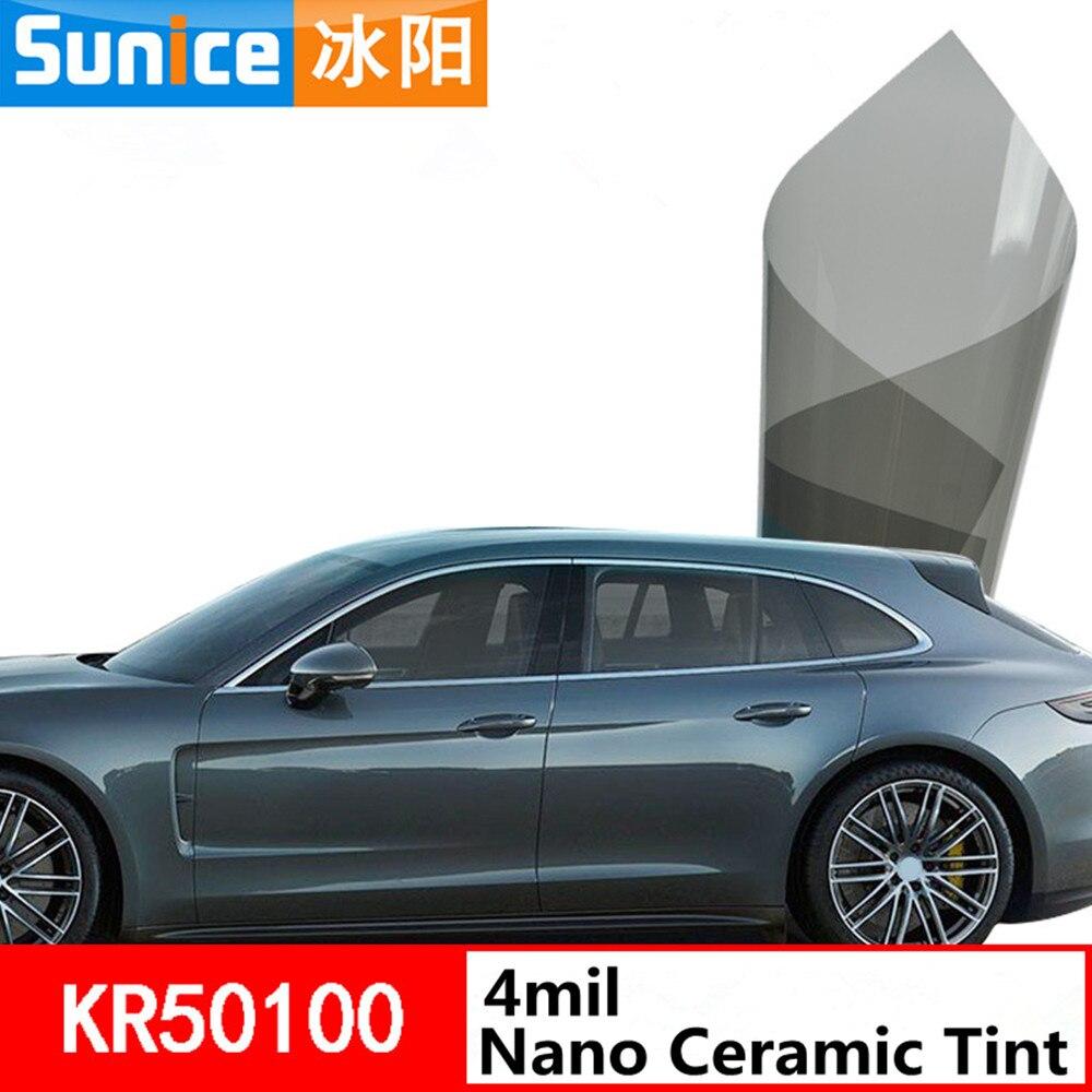 SUNICE VLT50 % teinte de fenêtre de voiture 4mil épaisseur Nano teinte en céramique 99% Film de teinte solaire résistant aux UV utilisation d'été 1.52x1 m/60