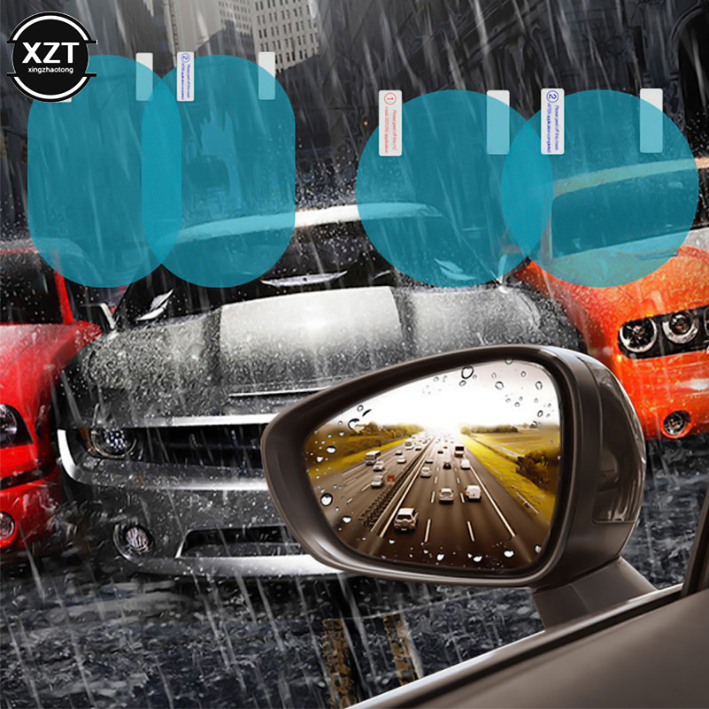 2PCS/Set Anti Fog Car Mirror Window Clear Film Anti-Light Car Rearview Mirror Protective Film Waterproof Rainproof Car Sticker