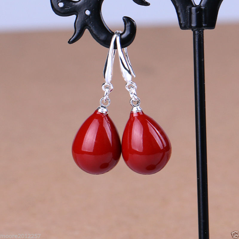 Fashion 12x16mm Coral Red Shell Pearl Drop Pendant Necklace Earring Jewelry Set