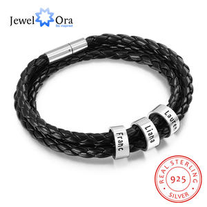 Men Bracelet Charms Name-Beads Custom 925-Sterling-Silver Personalized Black Jewelora