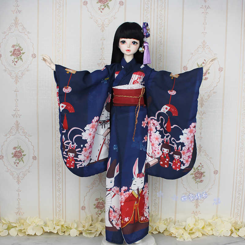 1//4MSD 1//3SD BJD Clothes Japanese Kimono Suit Clothes/&Waistband/&Headwear/&Handbag