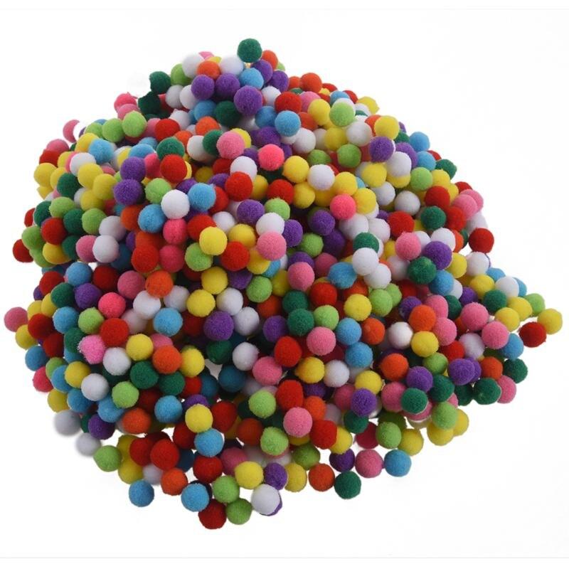1000Pcs 12mm Soft Round Fluffy Craft PomPoms Ball Mixed Color Pom Poms DIY Craft