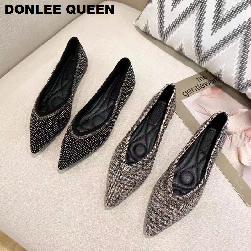 Flats Shoes Women 2020 Fashion Rhinestone Ballerina Slip On Loafers Flats Ballet Shoes Pointed Toe Casual FemaleZapatos De Mujer