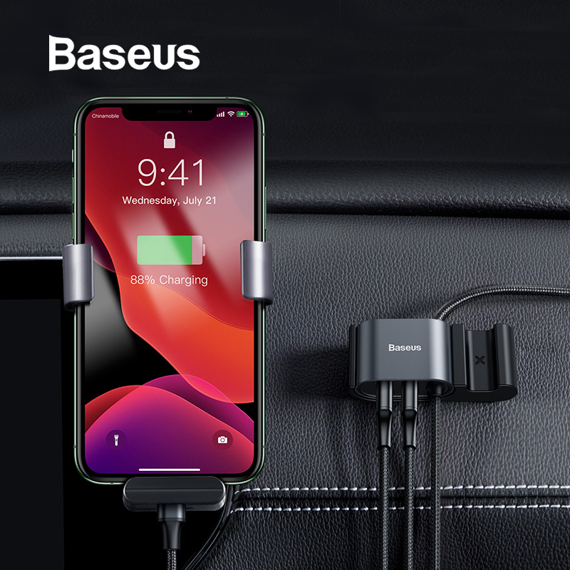 <font><b>Baseus</b></font> USB Cable Car RearSeat Dual USB Charger with Charging Cable for <font><b>iPhone</b></font> xr 8 7 <font><b>6</b></font> <font><b>6s</b></font> plus USB Data Cable Phone Cord Adapter image