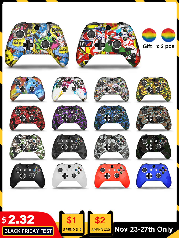For Xbox One X S Controller Gamepad Camo Silicone Cover Rubber Skin Grip Case Protective