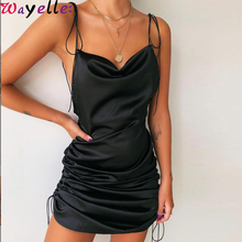 Sexy Ladies Dress Fashion Solid Spaghetti Straps Backless Sleeveless Party Women Bottom Length Adjustable