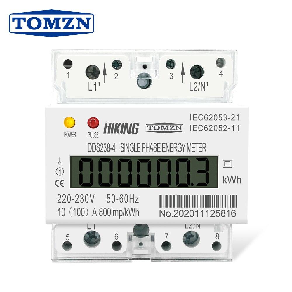 30(100) um 230 v 50 hz máximo 100a fase monofásica do trilho do ruído kwh watt hora din-trilho medidor de energia lcd