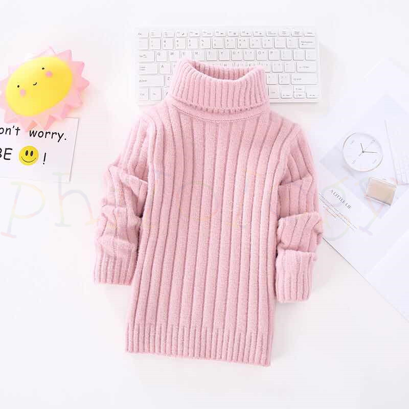 PHILOLOGY pure color flash yarn fall winter boy girl kid thick turtleneck shirts solid high collar pullover sweater 3