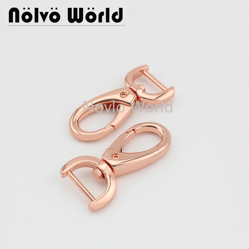 4 Pieces, 47*16mm, Rose Gold Metal Buckle Bag Clasps Lobster Swivel Trigger Clips Thicken Snap Hook Keychain Handbag Accessories