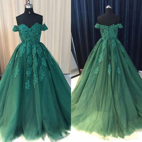 New Design Tulle Prom Dress with Lace Appliques Beading Off Shulder Custom Made Long Formal Evenging Gowns Zipper Back Vestidos Pakistan