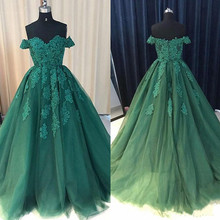 New Design Tulle Prom Dress with Lace Appliques Beading Off Shulder Custom Made