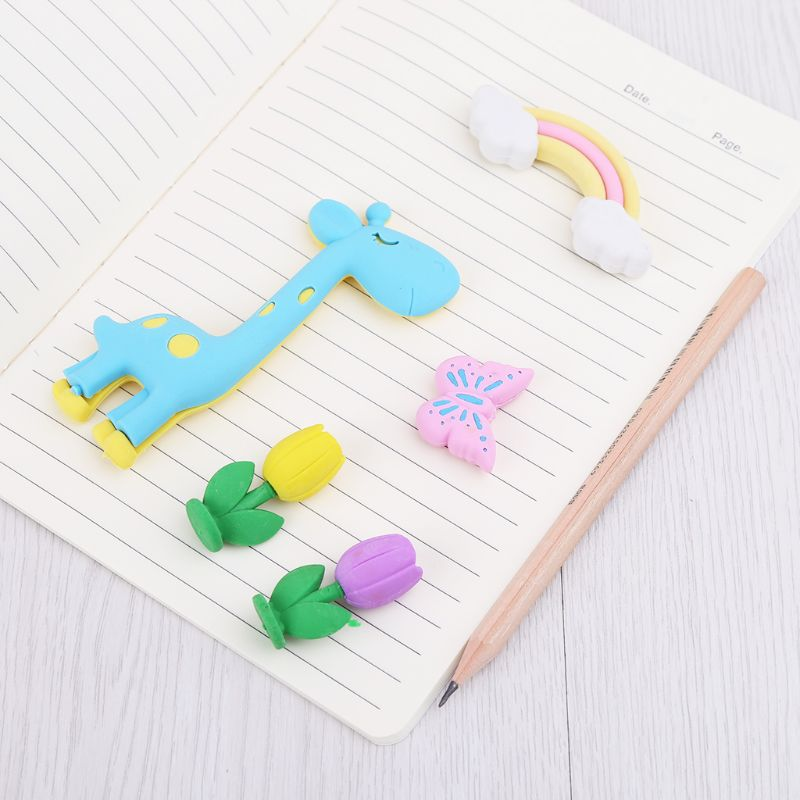 4pcs/set Giraffe Rainbow Snail Stars Rubber Eraser Stationery School Supplies