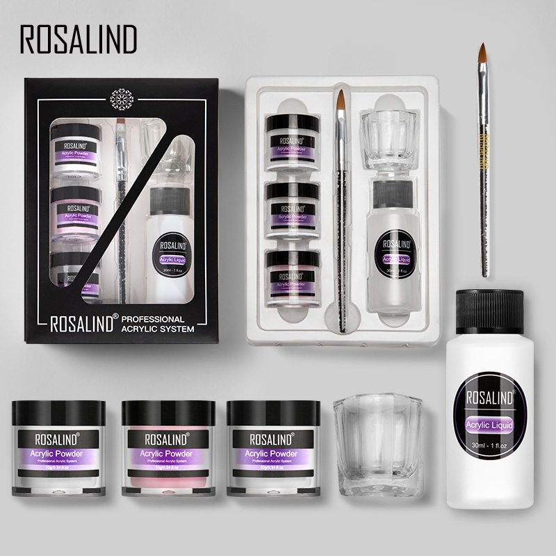 Акриловая пудра Rosalind, 6 шт., набор для наращивания ногтей, резьба, Нейл-арт, набор инструментов для маникюра, профессиональный поставщик ногт...
