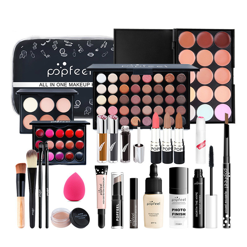 MakeUp Sets Cosmetics Kit Eyeshadow Lipstick Eyebrow Pencil Lip Gloss Makeup Brush Powder Puff Gift With Makeup Bag
