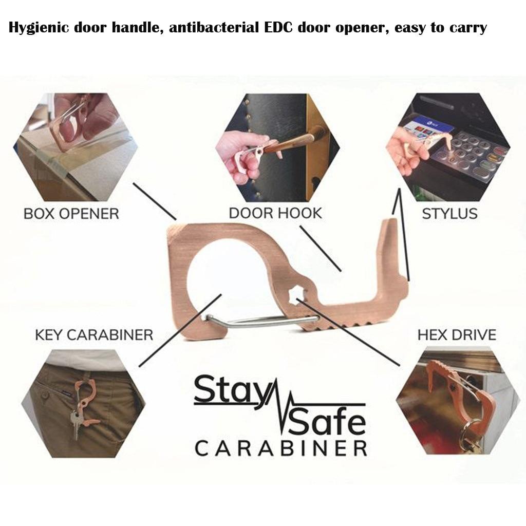 Hygienic Door Handle Antibacterial EDC Door Opener Easy To Carry Hand Antimicrobial Brass EDC Door Opener Stylus Tool P15