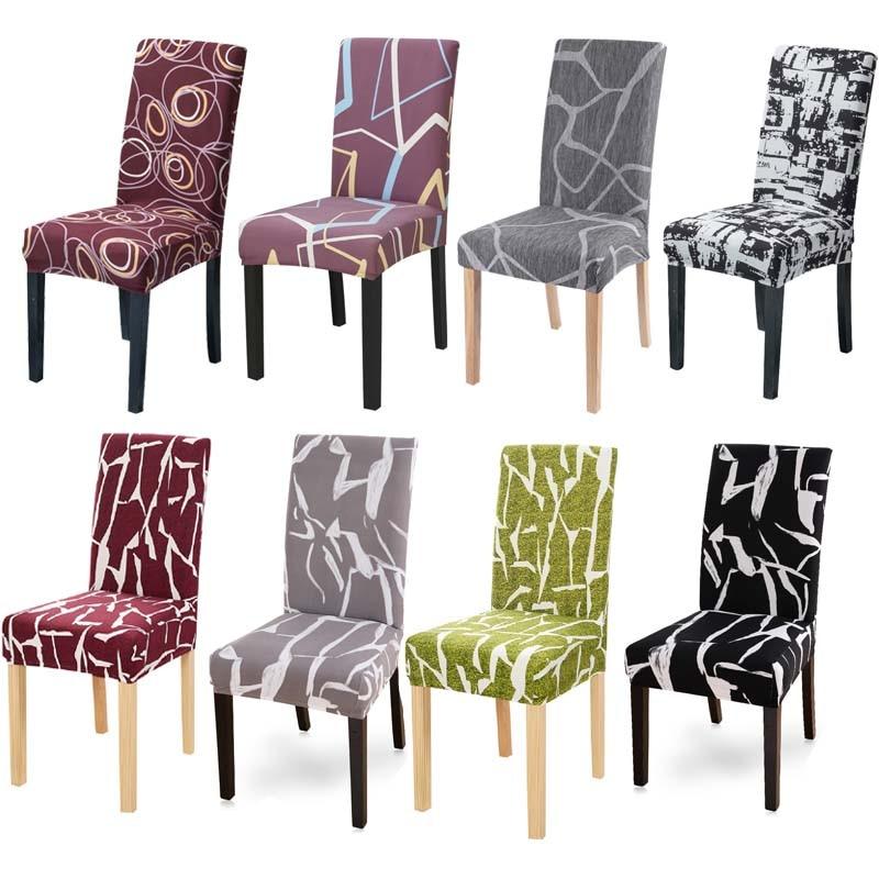 1 adet baskı sandalye kılıfı streç elastik anti-kirli çıkarılabilir yemek klozet kapağı ziyafet düğün için restoran