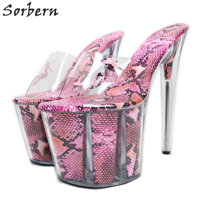 Sorbern See Through Snake Ladies Sandals 20Cm Perspex High Heel Platform Summer Shoes Open Toe Slip On Fetish Shoes Custom