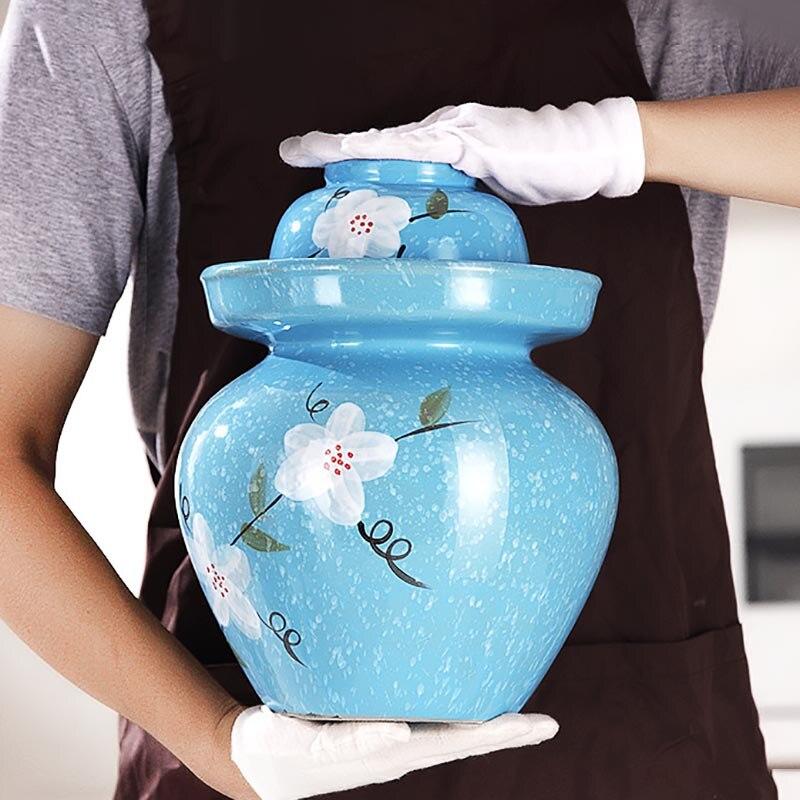 Chinese Ceramic Sealed Pickling Jars Kimchi Jar Retro Pickle Jar Food Container Vegetables Chili Radish Pickled Storage Tank
