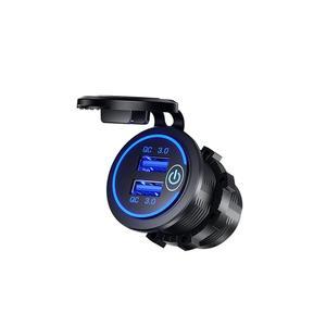 Image 3 - 12 V/24 V הכפול USB רכב QC 3.0 LED מהיר מטען מגע מתג לרכב סירת אופנוע מהיר רכב מטען