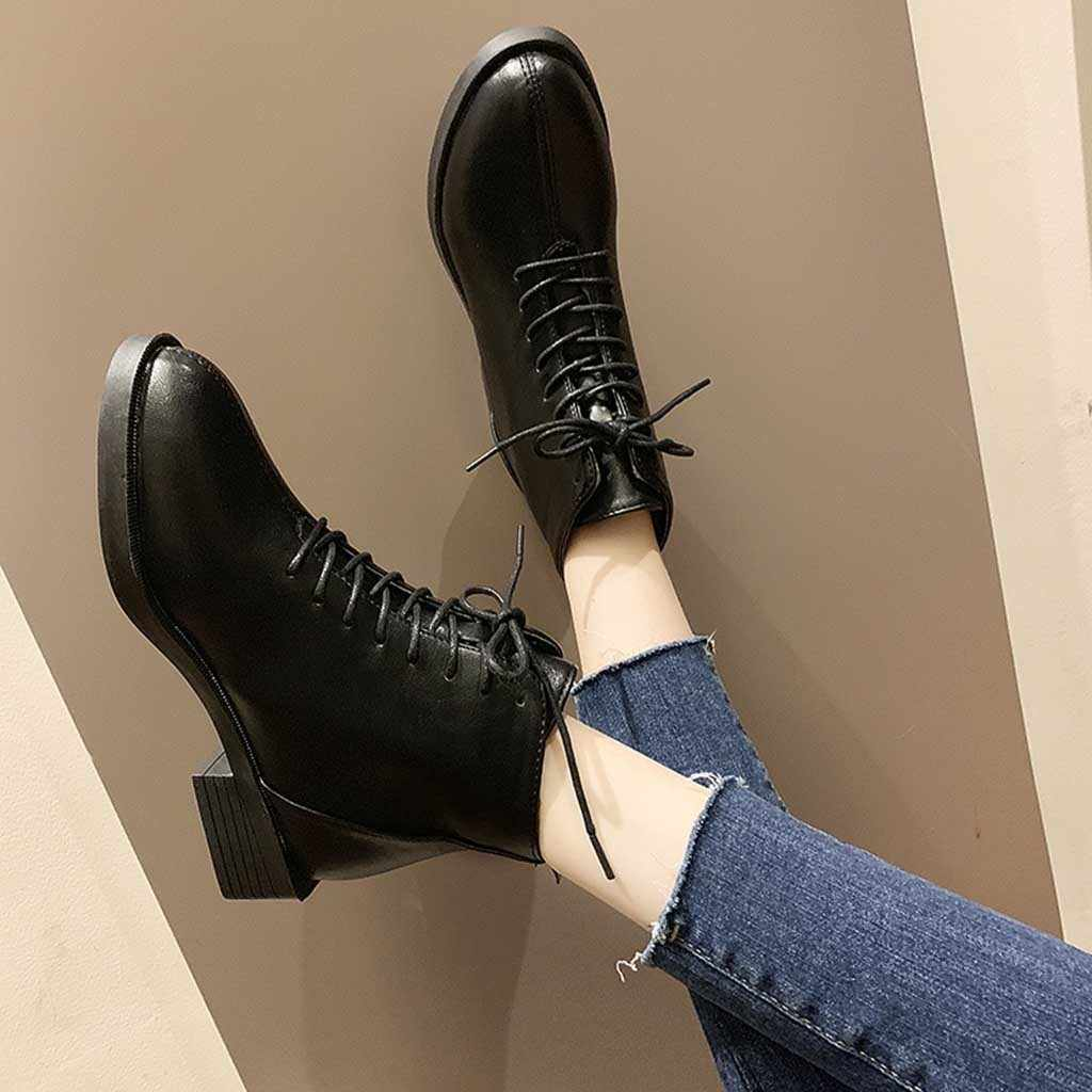 YOUYEDIAN dantel-up sivri botlar bayan Chic pu deri çizmeler fermuar kalın yarım çizmeler kadınlar için seksi yüksek topuk kadın ayakkabı 8M355